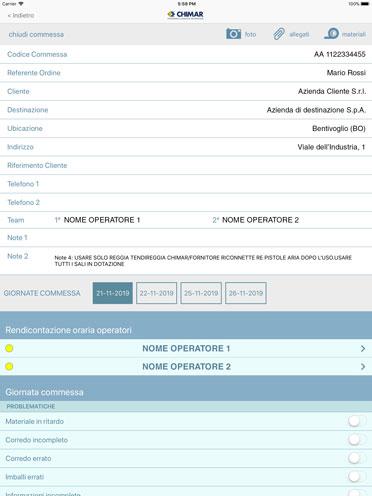 Grazie ad un sistema di accessi la App controlla i team di operatori e tiene un rendiconto delle ore impiegate per ogni commessa