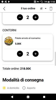 Il cliente può compilare il suo ordine e inserire le informazioni per pagamento e consegna