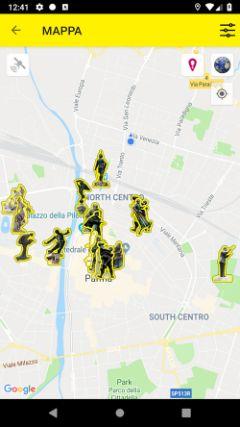 La mappa interattiva con le statue